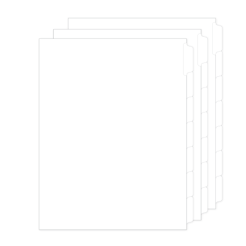 Blank tabs with write-on Mylar, 1/7th cut 28 per bag (97777)